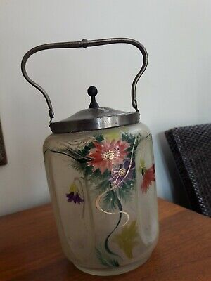 Vintage /Antique Biscuits Jar/ Barrel Hand Painted With Some Gold