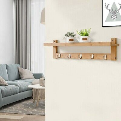 Wall-Mount Coat Rack Hanging Entryway Organizer with Storage Shelf Wall Hooks