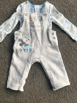Baby 2 Piece Mickey Overalls Set Size 0