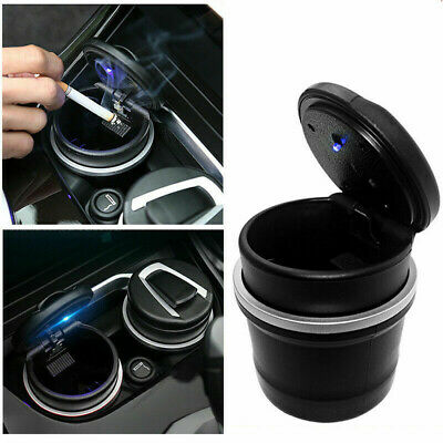 Auto Car Smokeless Stand Cylinder Travel Cigarette Ash Cup Holder Ashtray LED