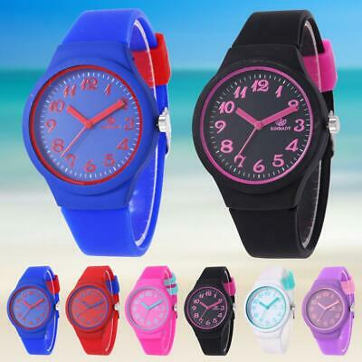 Fashion Colorful Silicone Band Sport Watch Boys Girls Students Quartz Wristwatch