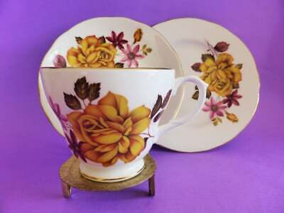 Vintage 1950s Duchess Yellow Roses Bone China Trio, Tea Cup, Saucer & Cake Plate