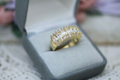 Vintage Jewellery Gold White Sapphires Antique Deco Jewelry Size 7 or N1/2