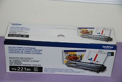 Genuine Brother TN-221BK Black Toner Cartridge for HL3140CW, DCP9020CDN - New
