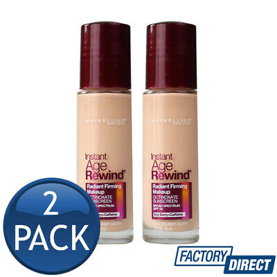 2 x MAYBELLINE INSTANT AGE REWIND FOUNDATION BEAUTY MAKEUP 120 CREAMY IVORY 30mL