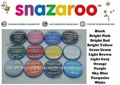 Full set of 12 SNAZAROO CLASSIC FACE PAINTS 18.8ml TUBS Assorted mixed colours