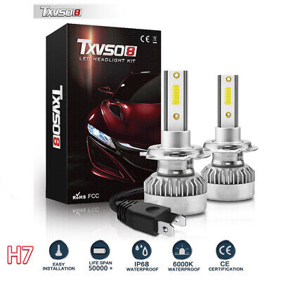 2pcs H7 36LED Headlight Bulbs Conversion Kit 110W 20000LM 6000K Hi/Lo Beam Lamps