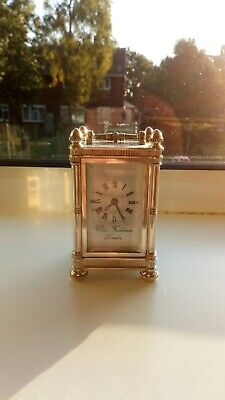 Antique Solid silver Hallmarked for London 1939 Miniature Carriage Clock By...
