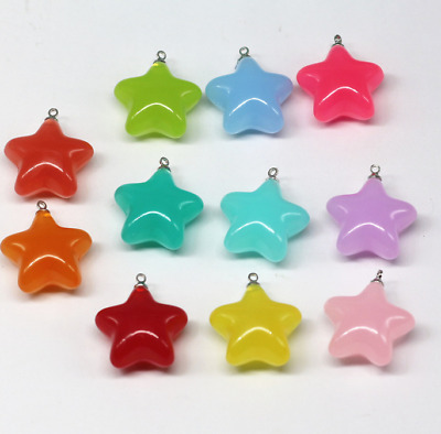 10pcs Candy Color plastic Star Pendant Bead Necklace Jewelry Accessories 24mm