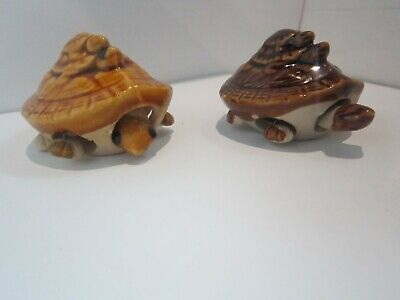 Soviet Feng Shui Turtle Three Stowed Heads With Tail Ceramic Figures 2 pieces