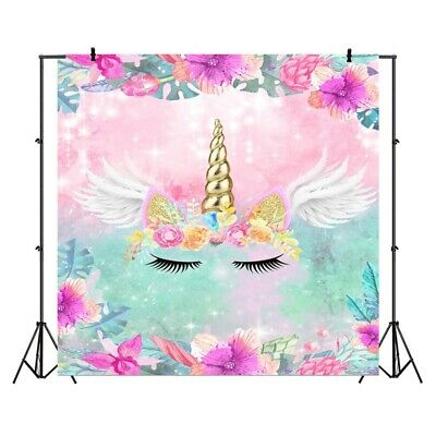 Unicorn Birthday Photo Props Backdrop Party Girls Vinyl 5 x 3 ft Lightweight Fun