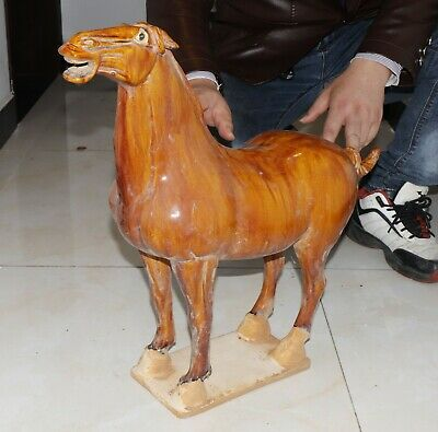 Huge Chinese tang dynasty style porcelain horse statue weight 7.4kg/16lb