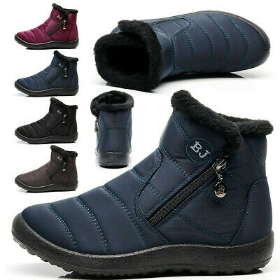 Mens Womens Winter Fur Lined Snow Boots Warm Waterproof Slip On Work Shoes Size