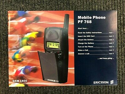 Ericsson PF 768 Vintage Mobile Phone Instruction Manual Book GSM 1800 - Mint UK