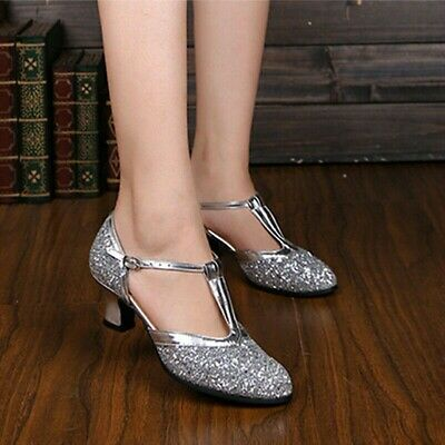Women Latin Dance Shoes Ladies Ballroom Shoes Low-heeled Soft Bottom Sequin EAN
