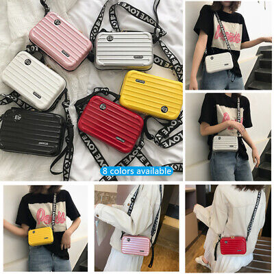 Women Mini Suitcase Shape Crossbody Bag Shoulder Bag Hard shell cosmetic bag