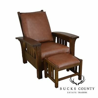 Stickley Mission Collection Oak Morris Chair With Footstool
