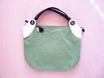 Tula green canvas shoulder bag Leather trim Patterned lining VGC