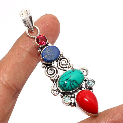"""ZJ607 Turquoise, Coral, Lapis, Amethyst 925 Silver Plated Pendant 2.3"""""""