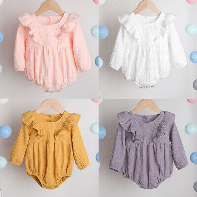 Newborn Infant Baby Girl Outfits Clothes Cotton Linen Romper Bodysuit Jumpsuit