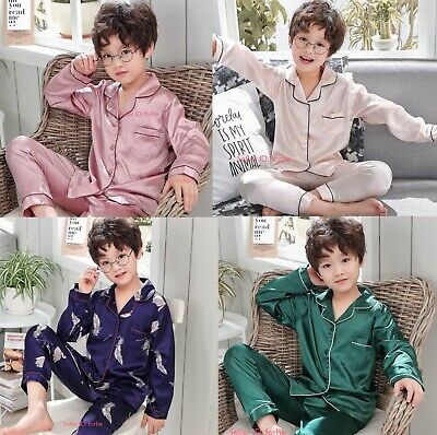 Kids Boys Girls Pyjamas Sleepwear Silk Satin Pajamas Sets Nightwear Loungewear