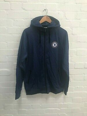 Chelsea FC Official Men's Full Zip Poly Hoodie - L - Blue - New