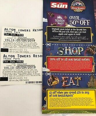 Alton Towers Tickets X2 For Thursday 5th September 2019