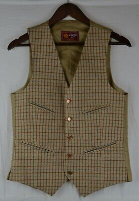 """Vintage Dunn & Co Check Checked Waistcoat Hunting / Shooting chest XS 36"""""""