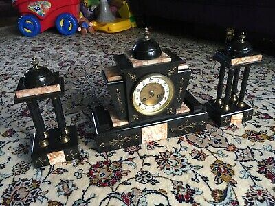 Antique Mantle Clock Slate/Marble (Victorian/Edwardian) + Garnitures Not working