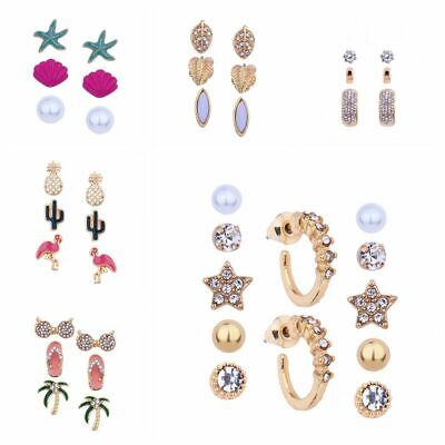 Fashion Gift Rhinestones Sea Shell Earrings Conch Starfish Stud Beach Jewelry
