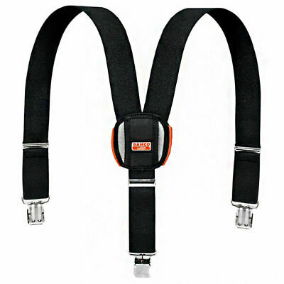 Bahco Black Padded Adjustable Work Braces With Heavy Duty Trouser Clips Workwear