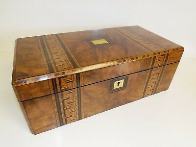 Writing Slope Antique Beautiful Large Victorian Walnut And Parquetry. 1850's