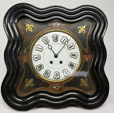 Antique Spanish Style Wall Clock Decorative Porcelan Enamel Face Old Movement