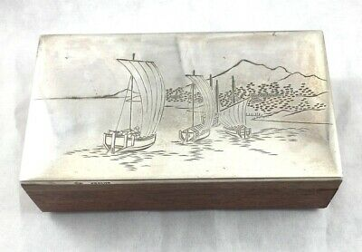 Japanese 970 Sterling Silver Top with Scenic Top w/Wood Bottom Box