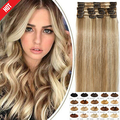ON CLEARANCE 100% Real Remy Clip in Human Hair Extensions Full Head Ombre K380
