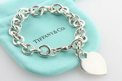 """Tiffany & Co. Sterling Silver 925 Classic Engravable Heart Tag Rolo Bracelet- 7"""""""