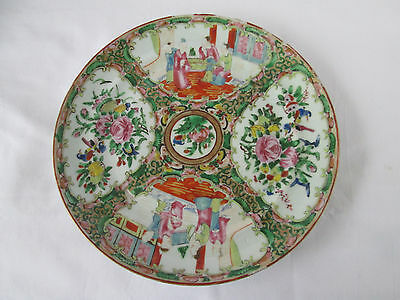 Antique 19 C. Chinese Export Famille Rose Plate, Canton Region Birds and Figures