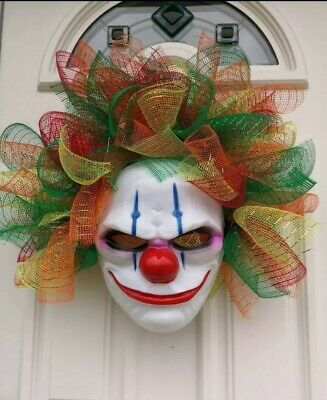 Large Decomesh Clown Wreath Indoor Outdoor Halloween Decoration
