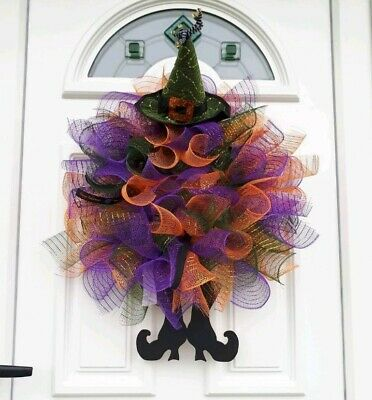 Witch Themed Decomesh Door Wreath Large Halloween Decoration For In/outside use