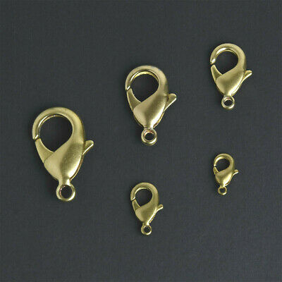 Solid Brass Lobster Claw Clasps Snap Jewelry Finding Fastener Hook 12-27mm