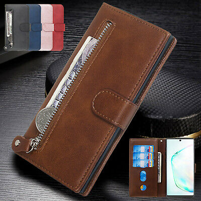 For Samsung Note 10 Plus S10 S9 Case Luxury Magnetic Zipper Leather Wallet Cover