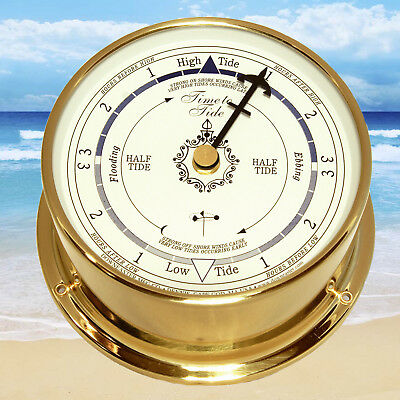 Solid Brass Tide Clock : White Dial, Downeaster Wind & Weather - Made in USA