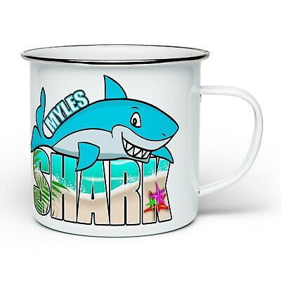 Personalised Shark Blue Novelty Enamel Tin Mug - White