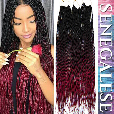HOT SENEGALESE TWIST Afro Box Braids Ombre Burgundy Red Hair