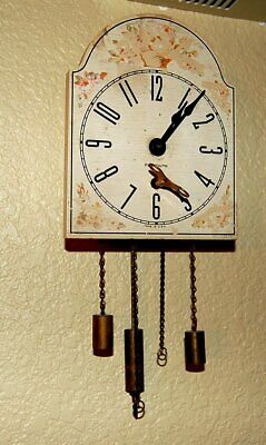 "Seth Thomas 8 Day ""Plymouth"" Wall Clock With Cylinder Pendulum Flowered Paint"