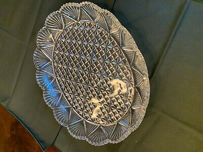 Antique Vintage clear Sandwich glass oval platter with scalloped saw tooth edge