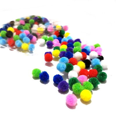 10mm Pom Poms 200 Pack Choose Single Colour or Assorted ~ Amazing Value Pompoms