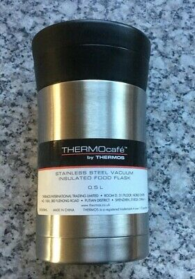 ThermoCafe Thermos Food Flask 0.5L Vacuum Insulated Travel Flask Silver New