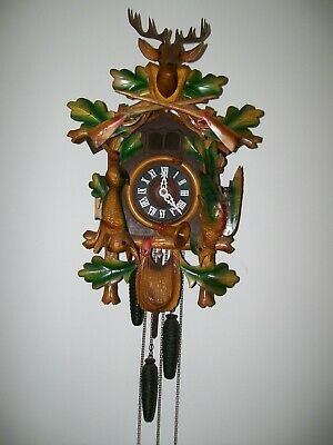 Vintage Germany Black Forest Carved Wood Musical CUCKOO CLOCK