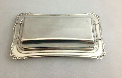 Sterling Silver Butter Dish Lidded Glass Insert Old Fashioned American Antique